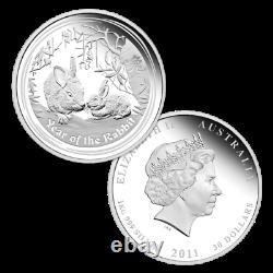 1 KILO kg 2011 Perth Lunar Rabbit Silver Coin PROOF COA 143