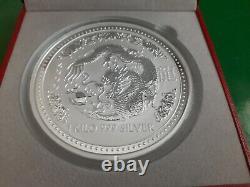 1 Kilo Silver $30 2000 Year of Dragon Perth Mint coin in the Apmex box