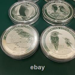 1 Kilo Silver Coin x 12-year 2008 to 2019 Kookaburra 386 oz 0.999 fine Silver