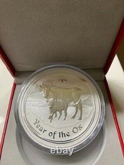 1 kg kilo 2009 Lunar Year of the Ox Silver Coin super rare withbox