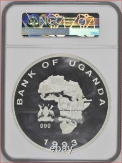 1993 Uganda Silver 1Kilo Wildlife Protection Rhinoceros NGC PR69 Best Grade One