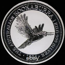1996 Australia Kookaburra 1 Kilo 999 Fine Silver 30 Dollar Coin in Capsule