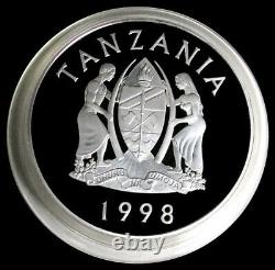 1998 SILVER TANZANIA 1 KILO Kg PROOF 25000 SHILINGI SERENGETI WILDLIFE BOXED