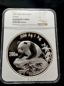 1999 One Kilo China S200Y Silver Panda NGC PF69 Ultra Cameo RARE FREE SHIPPING
