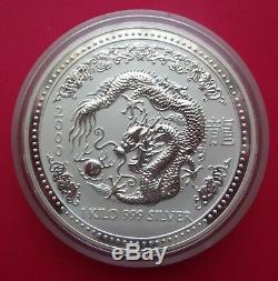 2000 1 Kilo Kg Silver Australia Lunar Commemorative Dragon