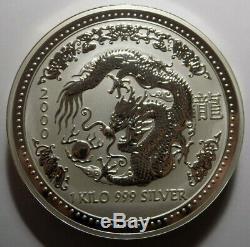 2000 Australia Dragon Lunar Series I 1 kilo 1000 grams 32.15 oz 999 fine silver