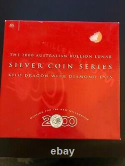 2000 Australia Lunar Dragon $30 Thirty Dollar Silver Kilo Coin Box