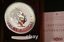 2000 Australia Lunar I DRAGON 1kilo DIAMOND EYE 999Silver collector coin $30RARE