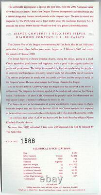2000P Australia Silver Kilo Year of The Dragon Colorized with Diamond Eyes #1888