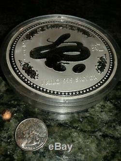 2001 Australia $30 Lunar Series I Year of the Snake Kilo Silver BU in Capsule