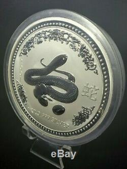 2001 Perth Mint Lunar Series I. 999 Silver Kilo Year of the Snake Coin BU