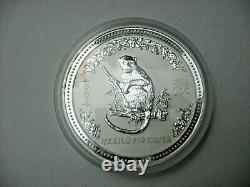 2004 Australia Lunar 1/2 Kilo. 999 Fine Silver Monkey Coin