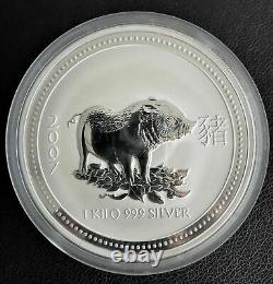 2007 Australia Lunar I Year of the Pig 1 Kilo Kg Silver Coin $30 Perth Mint