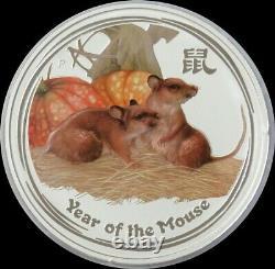 2008 Silver Australia $30 Kilo Colorized Lunar Year Of Mouse 32.15 Oz In Capsule