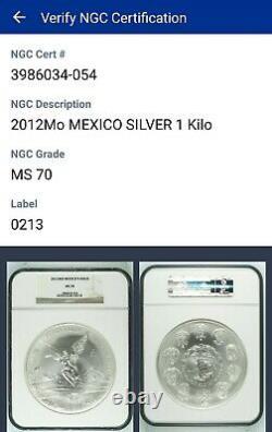 2012 MEXICO SILVER KILO COIN MS70 LIBERTAD 32.15 oz RARE IN MS70-only 181/world