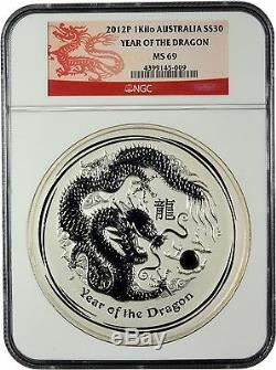 2012-P Year of the Dragon $30 1 Kilo silver coin graded NGC MS 69 Dragon Label