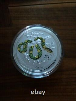 2013 Australia Lunar Year of the Snake 1 Kilo Silver Colorized Coin