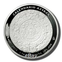 2013 Mexico 1 Kilo 100 Pesos Aztec Calendar Prooflike Silver Coin