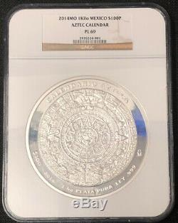 2014 MO MEXICO 1Kilo S100P Aztec Calendar PL 69 NGC NH001