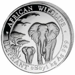 2015 1 Kilo Somalia. 999 Silver Elephant Coin (BU) - Perfect Condition