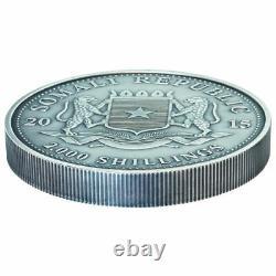 2015 1 Kilo Somalia Silver Elephant Coin (BU, Antique Finish, 200 Mintage)