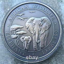 2015 Elephant Somalia Kilo coin 32.15 oz. 999 Silver Antique Finish 200 Mintage