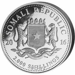 2016 1 Kilo Somalia. 999 Silver Elephant Coin (BU)