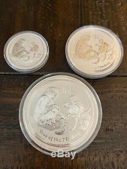 2016 Australia $30, $10, $8 Year of the Monkey Kilo, 10oz, 5oz Fine Silver. 999