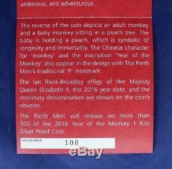 2016 Australia Silver Proof 1 Kilo coin Year of Monkey in Case / COA (H5/7)