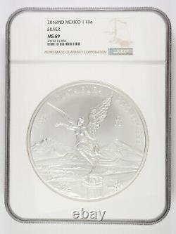 2016 MO Mexico Libertad 1 Kilo. 999 Fine Silver NGC MS69 AC083