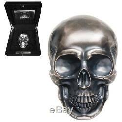 2017 1/2 Kilo Palau Big Skull High Relief Antiqued Silver Coin $25 (withBox)