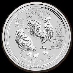 2017 Australia 1 kilo Silver Lunar Rooster BU