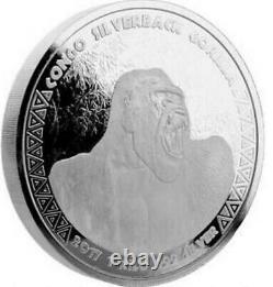 2017 CONGO Gorilla / 1 KILO (32.15 Troy Ounces) Silver 0.999 BEAUTIFUL