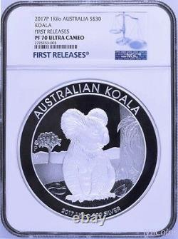 2017 Koala PROOF 1 Kilo $30 Pure Silver Coin Kilogram NGC PF70 MINTAGE 300 FR