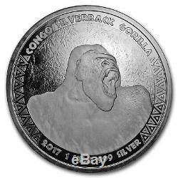 2017 Republic of Congo Silver 1 Kilo Silverback Gorilla BU SKU#155784