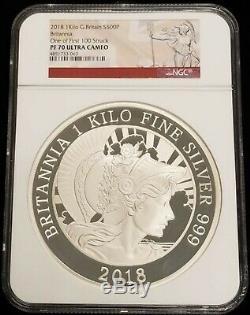 2018 Great Britain 1 Kilo Silver Britannia £500 Coin NGC PF70 UC 1 of First 100