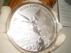 2018 Mexico Libertad 1 Kilo. 999 Silver Coin & Coa Original Box