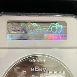 2019 1 Kilo/32oz Chine Silver Coin Unicorn First Day Ultra Cameo MIB NGC PF70
