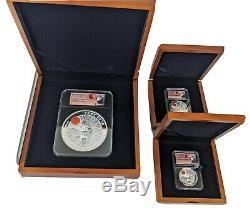 2019 China Panda Moon Festival KILO & 1oz Silver. 999 Coins NGC PF70 3 Piece Set