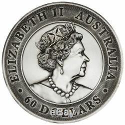2020 Australia 2 Kilo Kookaburra $60 Antiqued High Relief Silver Coin 200 Made