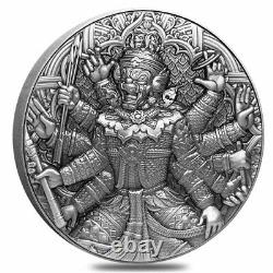 2020 Chad 2 oz Silver Tossakan Ramakien Series 1.9 Kilo Copper COA High Relief