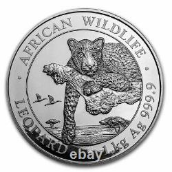 2020 Somalia 1 kilo Silver African Wildlife Leopard BU SKU#226064