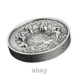2021 1 kilo Silver Aztec Empire Multilayered High Relief Coin Samoa. 999 Fine