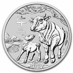 2021 AUS 1 kilo oz Silver Lunar Ox MS-70 PCGS (FS, Red Label) SKU#217688