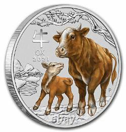 2021 Australia 1 kilo Silver Lunar Ox BU (SIII, Colorized) SKU#227654