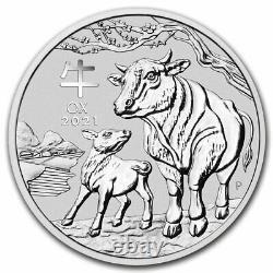2021 Australia 1 kilo Silver Lunar Ox BU (Series III) SKU#217502
