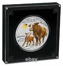 2021 Year of the Ox 1kg Kilo. 9999 Silver Coin with GOLD PRIVY MARK Series III