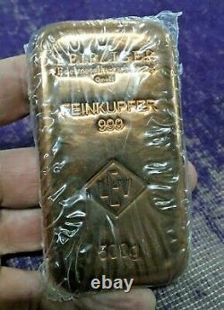 500g Copper Bullion Bar 1/2 Kilo Leipziger Edelmetallverarbeitung GmbH German