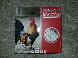 AUSTRALIAN LUNAR ROOSTER 2017 1 Kilo Pure Silver Coin GEM BU PROOF COA