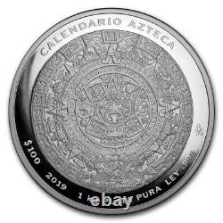 AZTEC CALENDAR 2019 1 Kilo Pure Silver Proof Coin with Box and COA